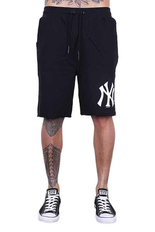 Majestic NY Raw Edge Fleece Short Black Front