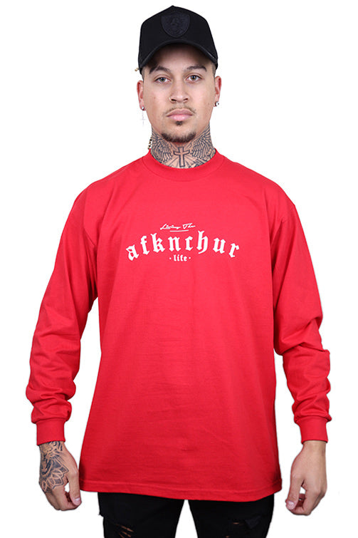AFKNCHUR Pro Club Lifestyle L/S Tee Red/White
