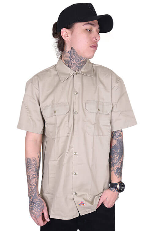 Dickies Button Up S/S Khaki Front