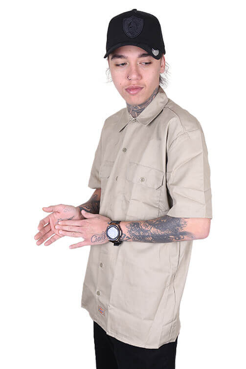 Dickies Button Up S/S Khaki Angle