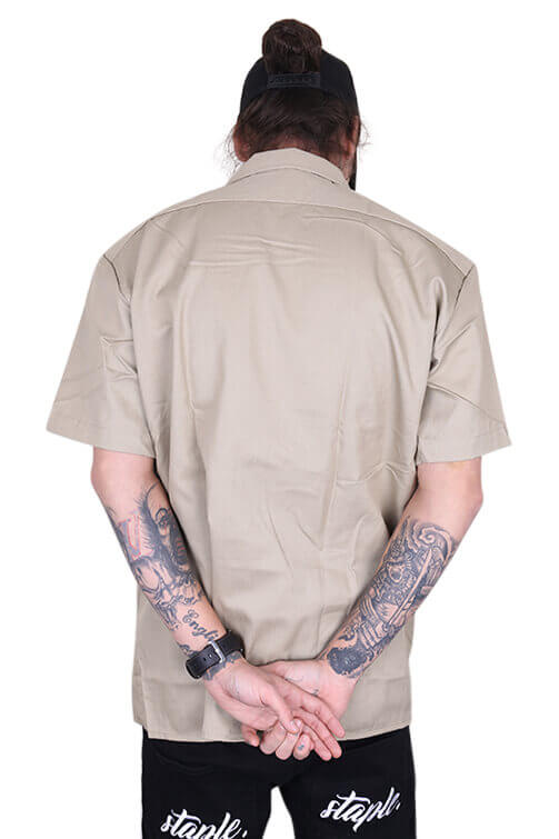 Dickies Button Up S/S Khaki Back