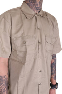 Dickies Button Up S/S Khaki Detail 1