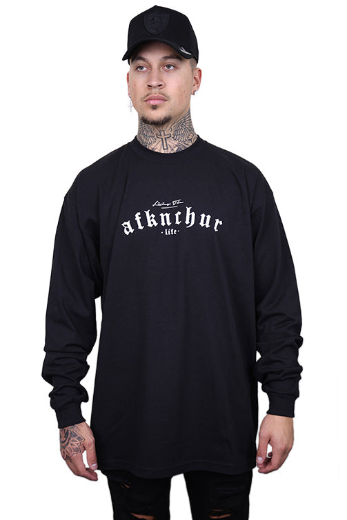 AFKNCHUR Pro Club Lifestyle L/S Tee Black/White