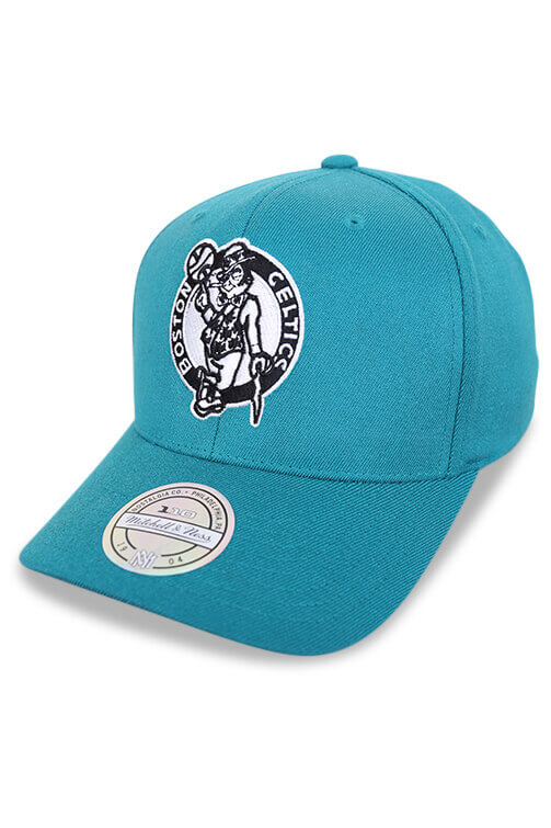 M&N 110 Celtics 6 Panel High Crown Teal Angle