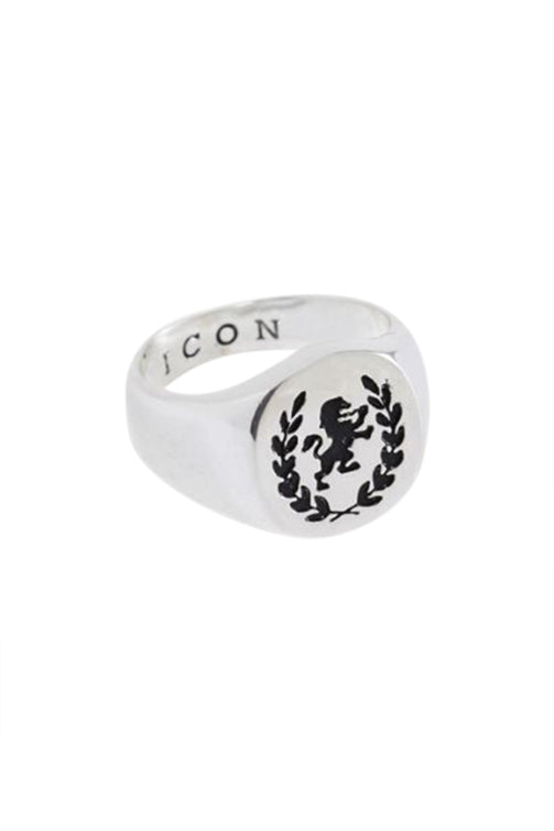 Icon Brand Debossed Lion Signet Ring Silver