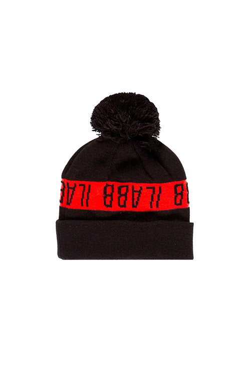Ilabb Ascend Pom Pom Beanie Black/Orange Front