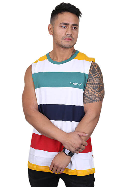 Lower Lowcase Cut Tank Navy/White Front