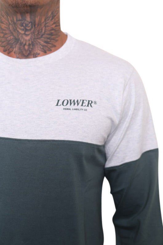 Lower Slant Serif Panel L/S Tee Green Detail