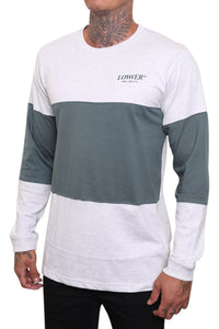 Lower Slant Serif Panel L/S Tee Green Angle