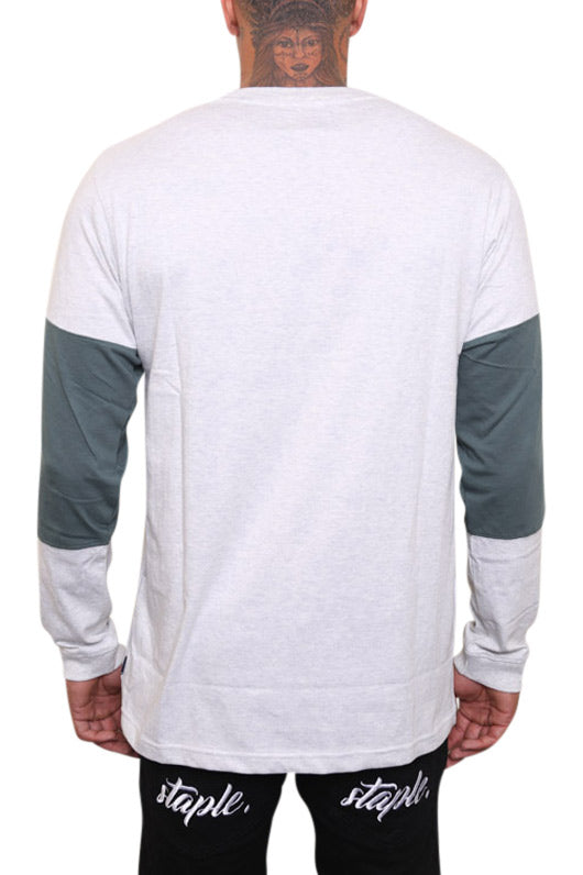 Lower Slant Serif Panel L/S Tee Green Back