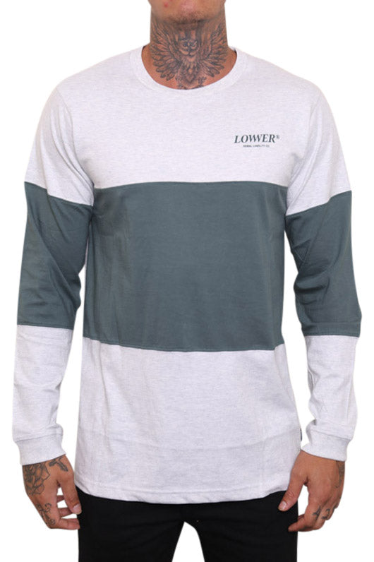 Lower Slant Serif Panel L/S Tee Green Front