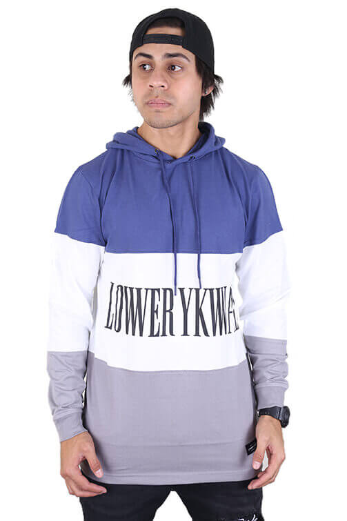 Lower Irving Panel L/S Tee Blue/White Front