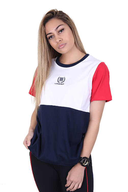 Lower Womens Active Panel Tee White/Red/Blue Front