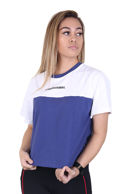 Lower Womens Logo Two Tone Cropped Tee White/Blue Front