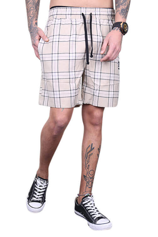 Lower Lo Town (Damask) Plaid Short Creme/Navy Front