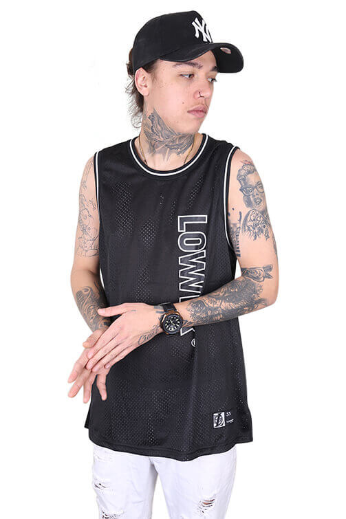 Lower Swish Layer Bball Singlet Black Front