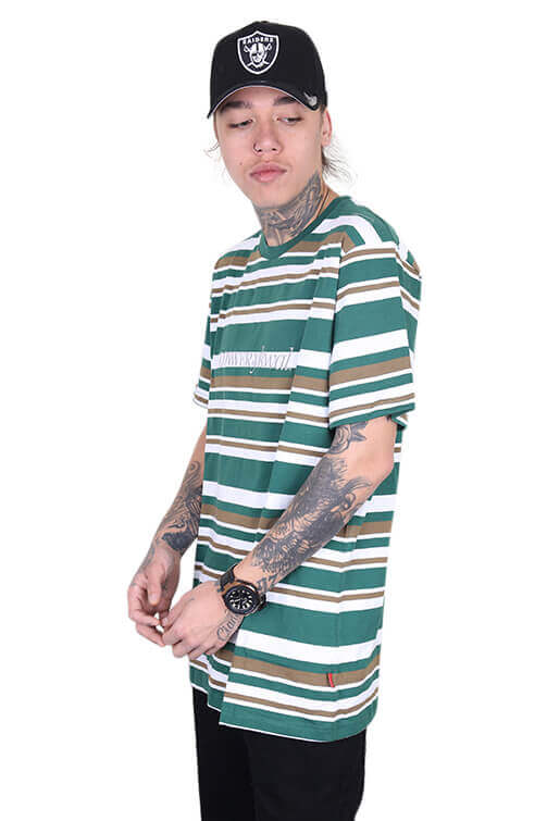 Lower Times (Embroidery) Rail Tee Green/Brown Angle