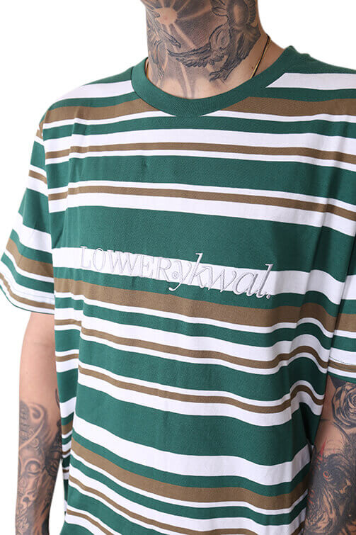 Lower Times (Embroidery) Rail Tee Green/Brown Detail