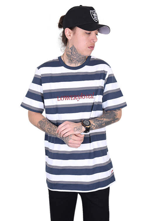 Lower Times (Embroidery) Rail Tee Navy/Grey Front