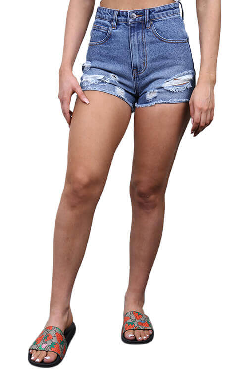 Lower Womens Lucy Denim Short Blue Front
