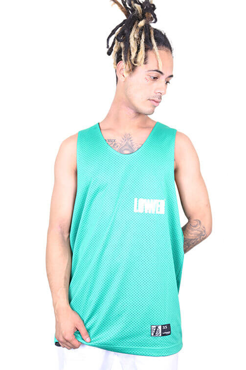 Lower Low Ball Reversible Baller Singlet Black/Green Front