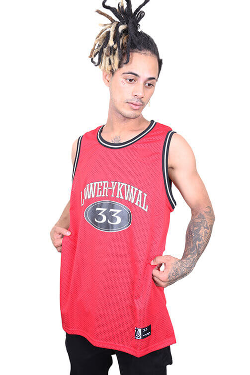 Lower Hoop Dreams Layer B-Ball Singlet Red Front