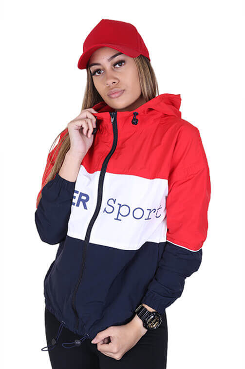 Lower Womens Sport Panel Jacket Red Front 1