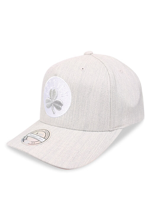 M&N Celtics 110 Pinch Panel Crown Grey Snapback Angle