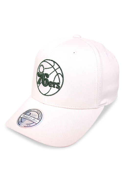 M&N 76ers Stone Forest Snapback Angle