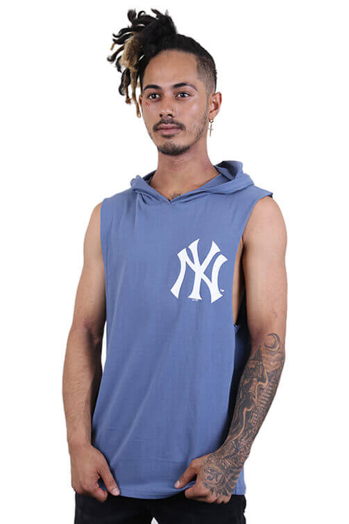 Majestic NY Vincennes Hooded Muscle Blue Front