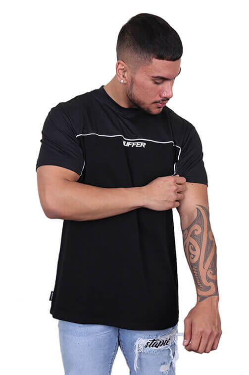 Huffer Court Tee Black Front