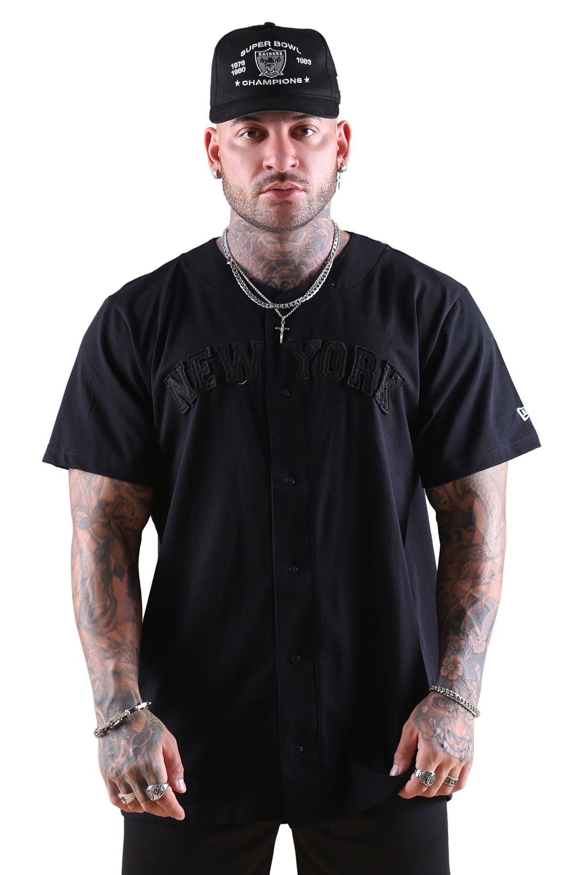 New Era NY Wordmark Button Up Tee Black Front