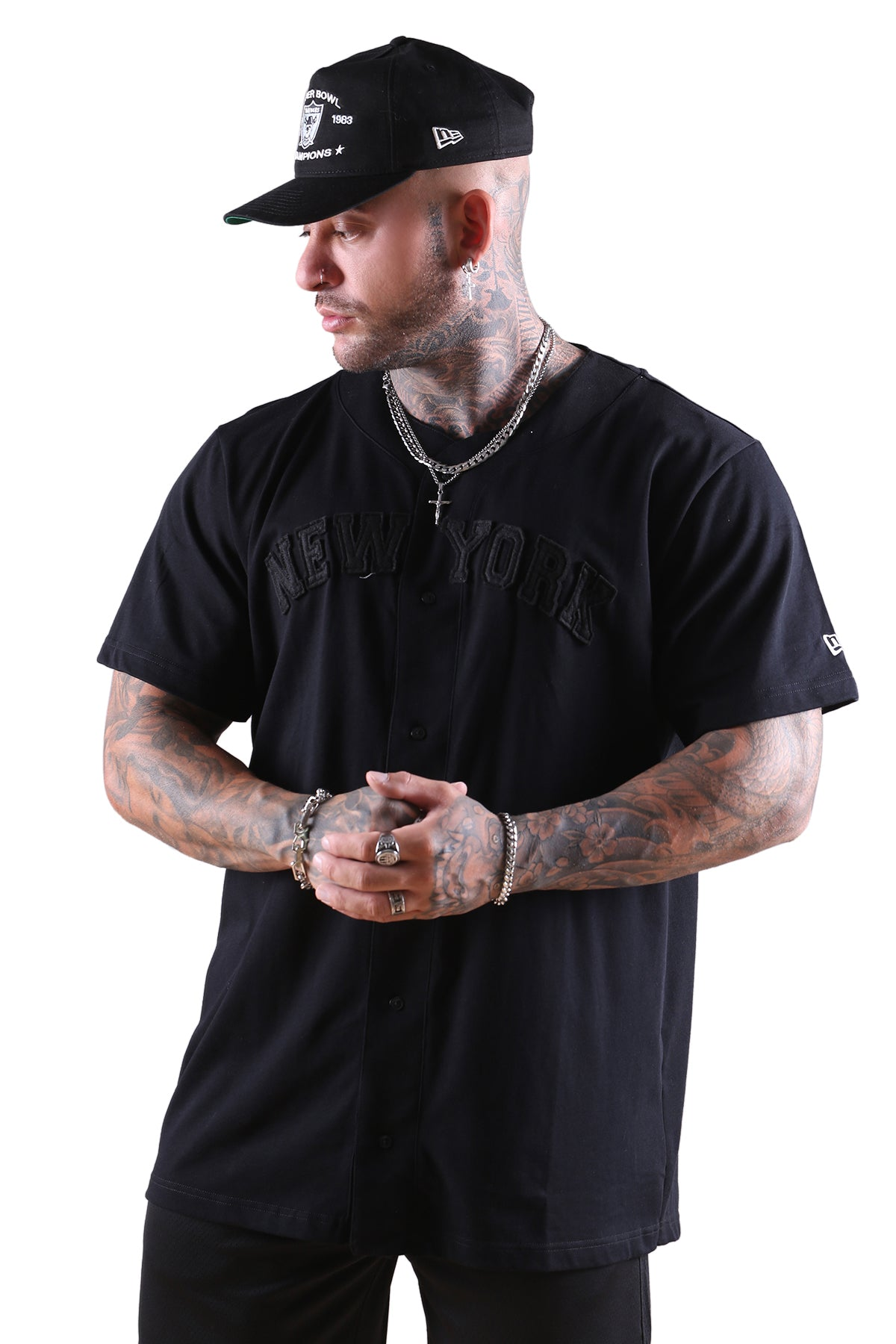 New Era NY Wordmark Button Up Tee Black Angle 1