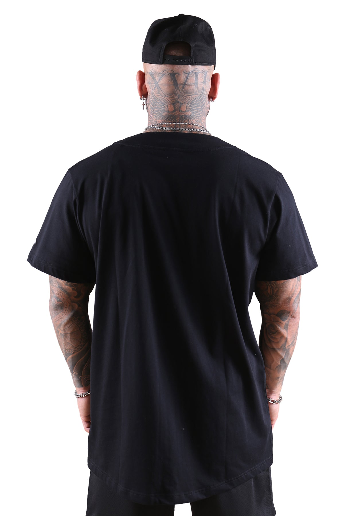 New Era NY Wordmark Button Up Tee Black Back