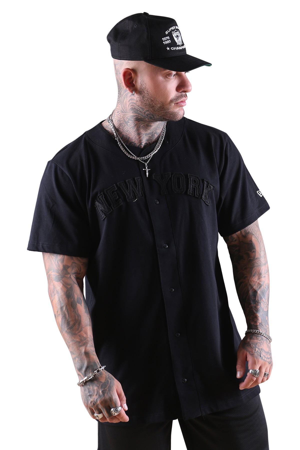 New Era NY Wordmark Button Up Tee Black Angle 2