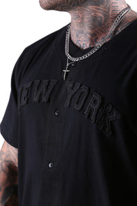 New Era NY Wordmark Button Up Tee Black Detail