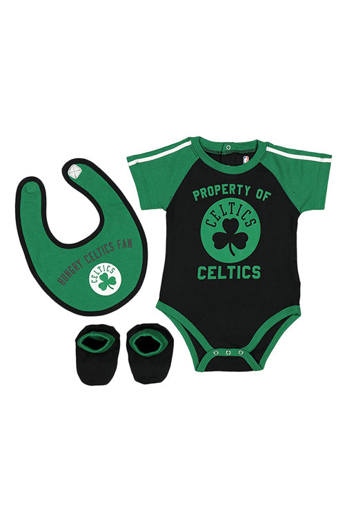 Outerstuff Celtics Rebound Creeper Bib & Bootie Set Green Front