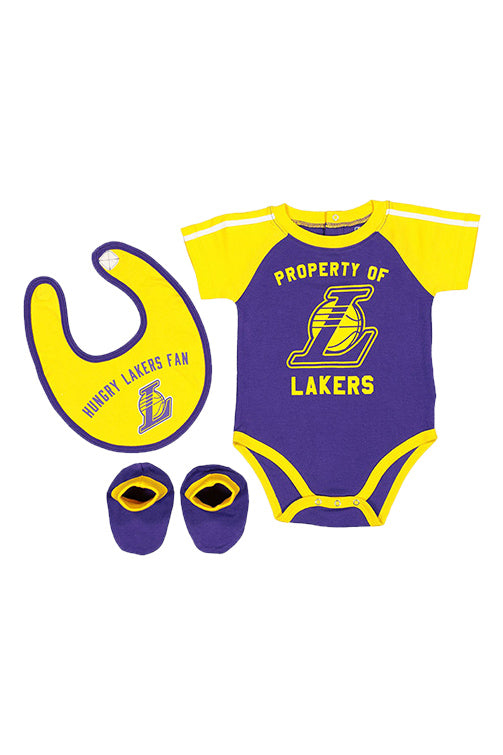 Outerstuff Lakers Rebound Creeper Bib & Bootie Set Yellow Front