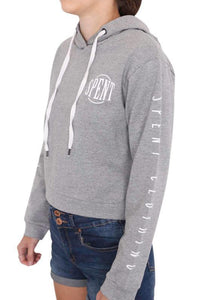 Spent Womens Inspire Crop Hoodie Grey