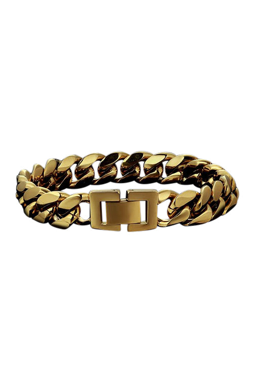 Staple 12mm Stainless Steel Cuban Bracelet 18k Gold