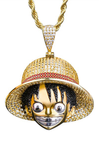 Staple 14K Gold Luffy Pendant Front