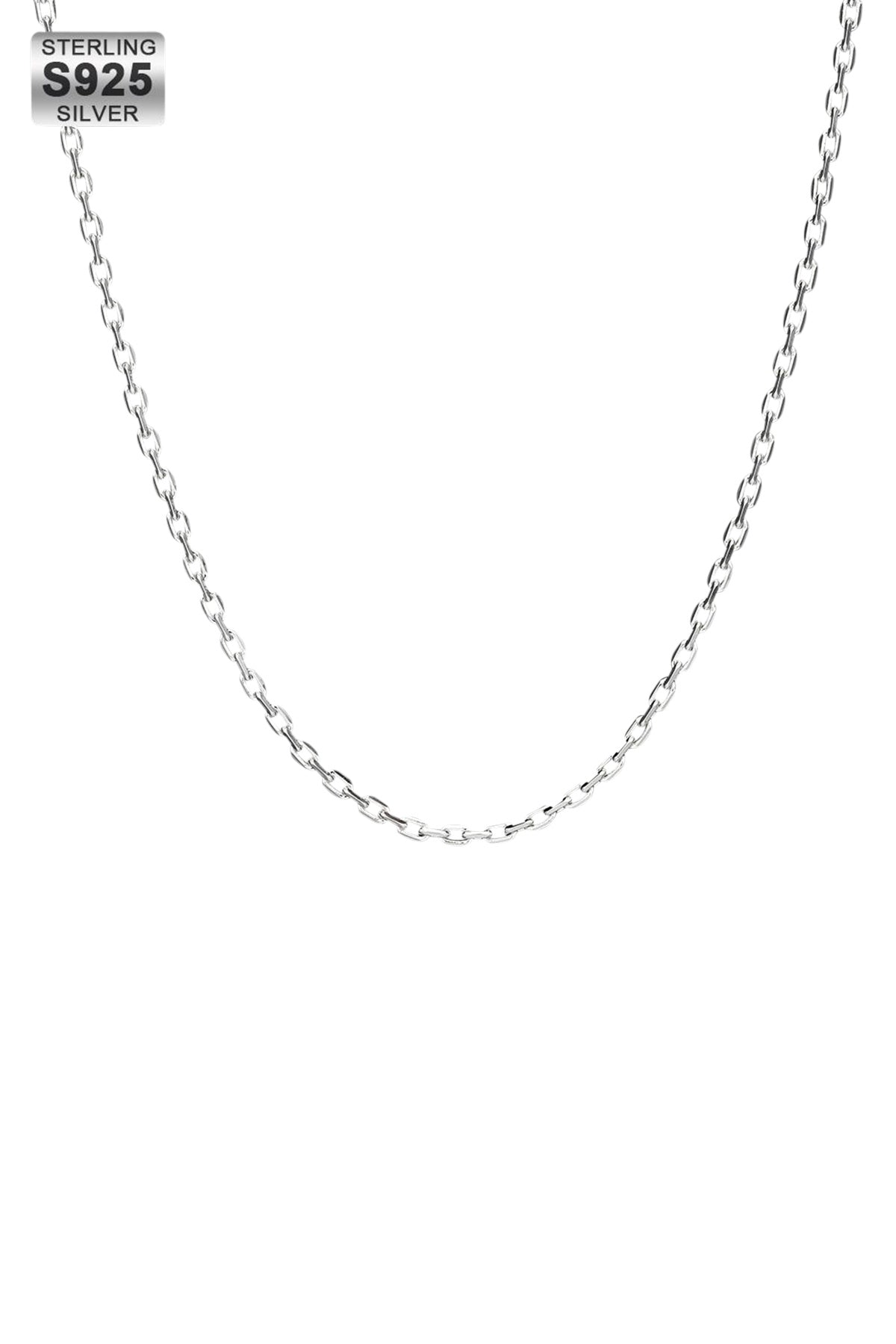 Staple 2.5mm 925 Silver Rolo Cable Chain White Gold
