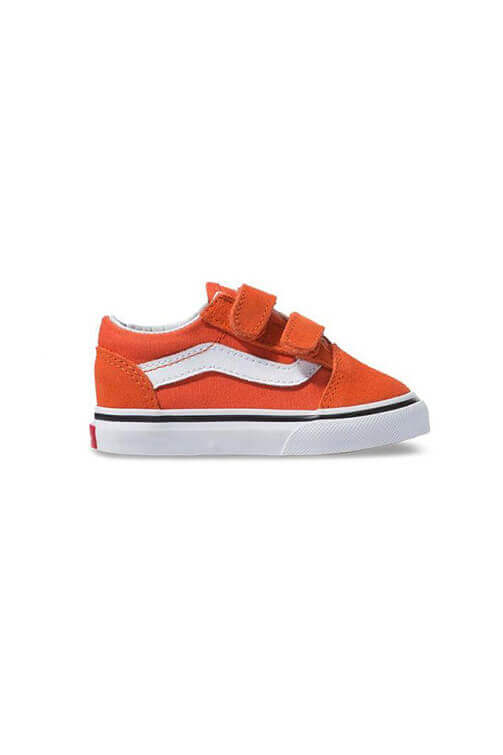 Vans Toddler Old Skool V Orange/White Side