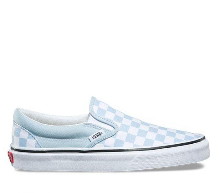 Vans Womens Classic Slip-on Checkerboard Baby Blue  Side