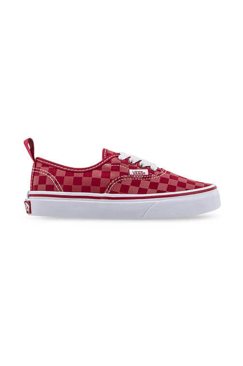Vans Youth Authentic Elastic Lace Checkerboard Red Side