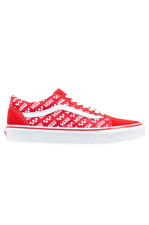 Vans Old Skool Logo Repeat Racing Red/White Side