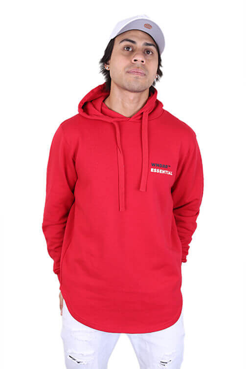 WNDRR Disperse Curved Hem Hood Sweat Red Front