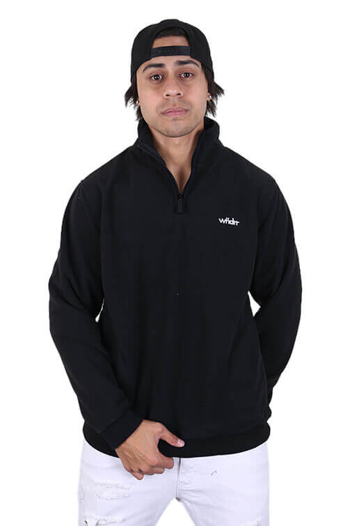 WNDRR Nozawa Zip Polar Fleece Sweat Black Front