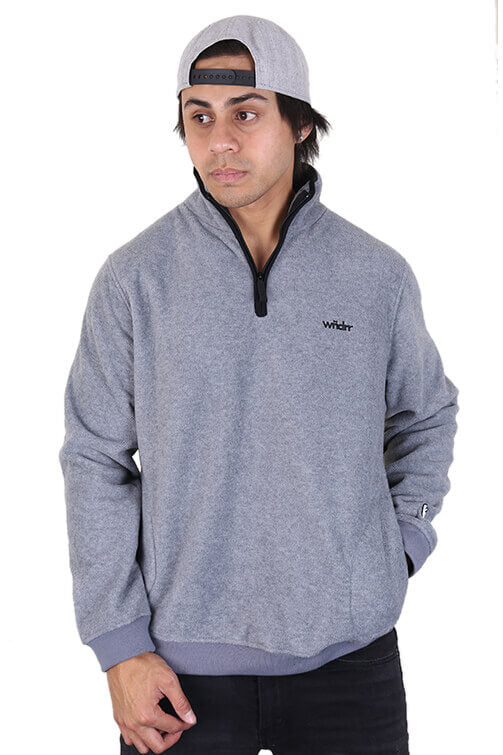 WNDRR Nozawa Zip Polar Fleece Sweat Grey Front