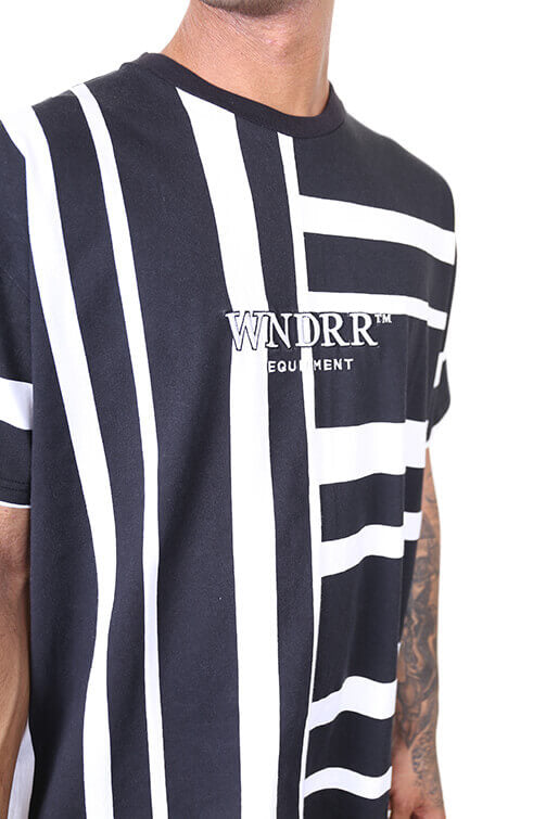 WNDRR Rift Stripe Tee Black/White Detail 1